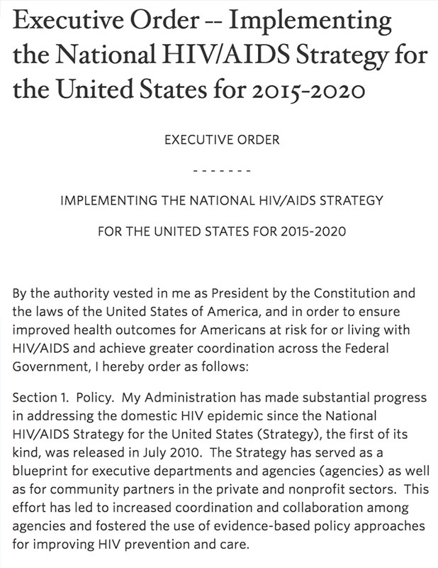 Executive Order -- Implementing the National HIV/AIDS Strategy for the United States for 2015-2020